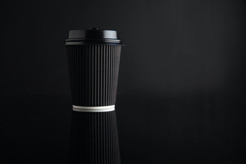 Black takeaway coffee cup mockup